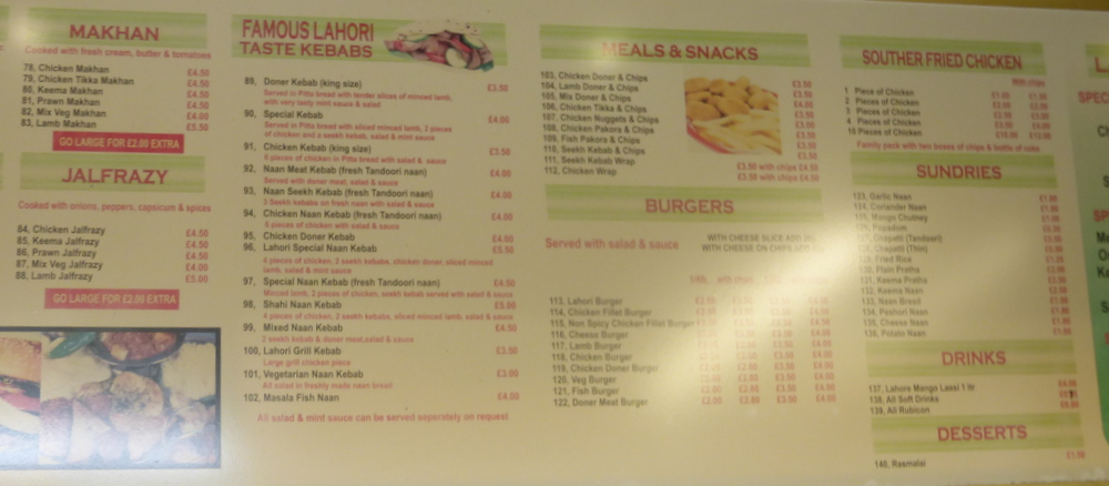 The Display Boards Have Changed Much Smaller Writing Takeaway Menu Still Suggests Lahori Taste Is Open