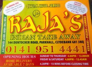 Clydebank Parkhall Rajas Desi Style Curry Heute